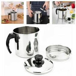 1.2L Oil Strainer Pot Grease Can Kitchen Cooking Oil Contain