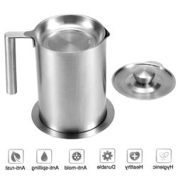 1.8L Oil Strainer Reuse Pot Kitchen Grease Seperator Frying