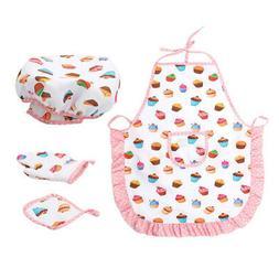 1 Set Kids Hat Apron Glove Pot Pad Cooking Role Games Kitche