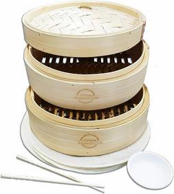 10 Inch Handmade Bamboo Steamer, 2 Tier Baskets, Healthy Coo