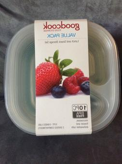 GOOD COOK 10 PC BPA FOOD STORAGE CONTAINERS DIVIDED COMPARTM