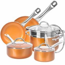 10 piece kitchen cookware set nonstick copper pots and pans
