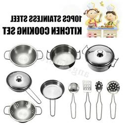 10Pcs Kid Play House Toy Utensils Cooking Pots Pans Food Dis
