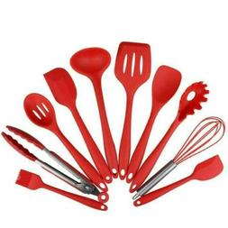 10pcs red silicone kitchen cooking utensils set