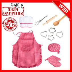 11 Pcs Kids Cooking and Baking Set with Apron for Girls, Che