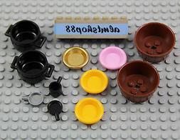 LEGO - 11 pcs Lot Cooking Pots Pans Plates Cauldron Containe