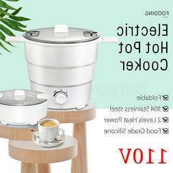 110V Portable Electric Hot Pot Caldron Food Heater Travel Ou