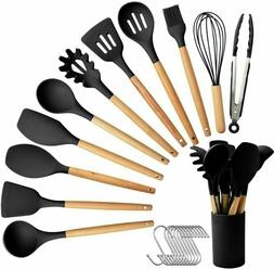 11PCS Silicone Kitchen Cooking Utensils Set Wooden Handle He