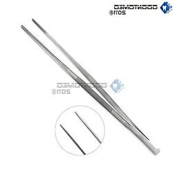 12'' 30cm Silver Stainless Steel Long Food Tongs Straight Tw