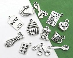 12 BAKING Charms, Antique Silver Mixed Cooking Charm Collect