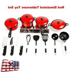 13Pcs/Set Miniature Kitchen Cookware Pot Pan Toddler Kids Pr