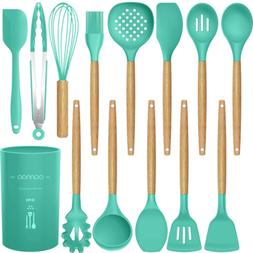 14 Pcs Non-stick Silicone Cooking Utensils Wooden Handle Kit