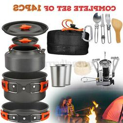 14pcs/Set Portable Camping Cookware Mess Kit Backpacking Out