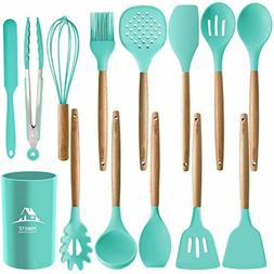 MIBOTE 14PCS Silicone Cooking Kitchen Utensils Set with Hold