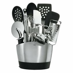 15-Piece Everyday Kitchen Tool Set Utensils w Spoons Spatula