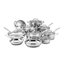 Cuisinart 17 Piece Chefs Classic Oven Safe Cookware Set Stai