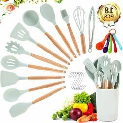 19 Kitchen Utensil Set - Silicone Cooking Utensils - Wooden