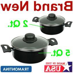 2 Aluminum Cooking Pots,2 and 5 Quart Kitchen Stove Dutch Ov
