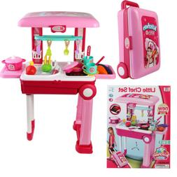 2 in 1 Kids Kitchen Cooking Pretend Role Play Toy Set Suitca