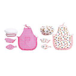 2 Set Kids Toddler Hat and Apron Gloves Pot Pad Play Dress S