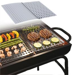 2 x Large Stainless Steel BBQ Metal Grilling Sheet Easy Clea