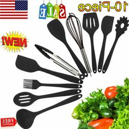 10PCS Silicone Kitchen Cooking Utensils Set Non-Stick Heat-R