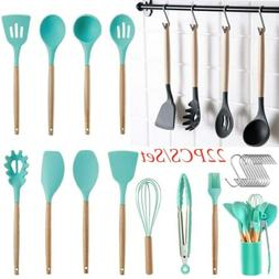 22PCS Silicone Kitchen Cooking Utensils Set Wooden Handle He