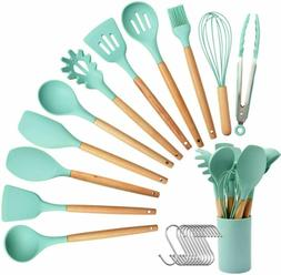 23Pcs Silicone Kitchen Cooking Utensils Set Wooden Handle He