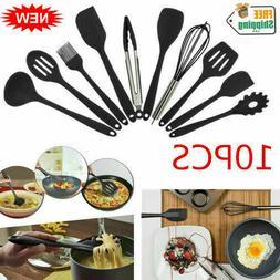 10-Piece Silicone Kitchen Utensil Set Non-Stick Tong/Whisk/S
