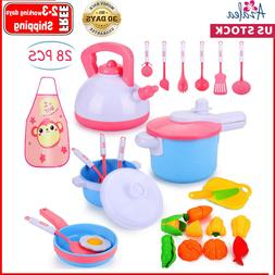 28Pcs Kids Kitchen Pretend Play Accessories Toys, Cooking Se