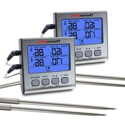 2PCS Digital Dual Probe Meat Cooking Thermometer Oil Grill B