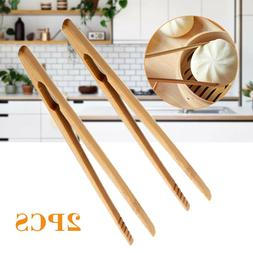 2Pcs Wooden Toast Tongs Toaster Bacon Cooking BBQ Food Bread