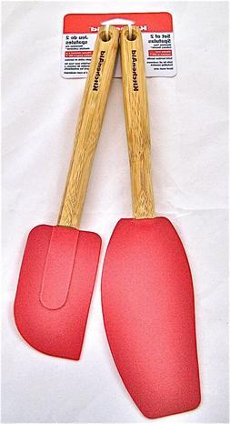 KitchenAid 2x EMPIRE RED Bamboo Silicone Bake Mixing Spatula