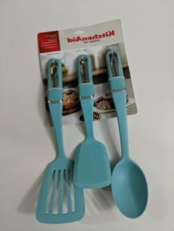KitchenAid 3pc Set Turquoise Utensils: Spoon/Turner