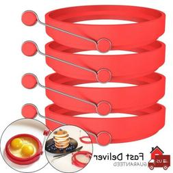 4 Pack Silicone Egg Fried Ring Round Mold Pancake Breakfast