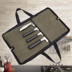 4 Slots Chef Knife Roll Bag Zipper Canvas Kitchen Cooking St
