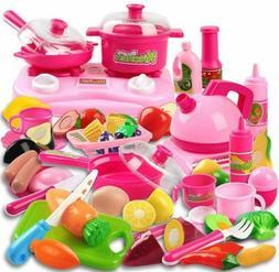42 Piece Kitchen Cooking Set Fruit Vegetable Tea Playset Toy