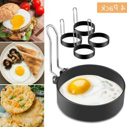 4PC Egg Pancake Ring Mold Shaper Nonstick Stainless Steel Co