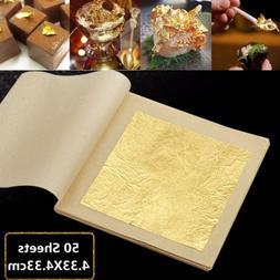 5/10/50/100Pcs 24 Karat Edible Gold Foil Leaf Cooking Foods