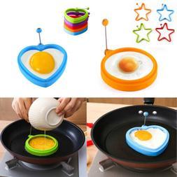 5 PCs Silicone Fried Egg Pancake Mold Heart Round Star Egg S