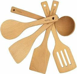 5-Piece Cooking Tools Set, Wood Kitchen Utensils, Turner Spa