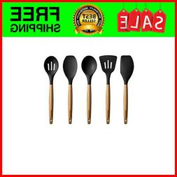 5 Piece Silicone Cooking Utensil Set with Natural Acacia Har