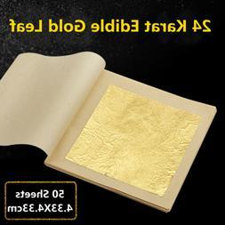 50 Pcs 24K Edible Gold Foil Leaf For Cooking Food Cake Decor