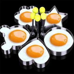 5PCS Fried Egg Shaper Stainless Steel Pancake Ring Mold Cook