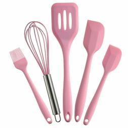 5Pcs Silicone Cooking Tool Sets Egg Beater Spoon Spatula Oil