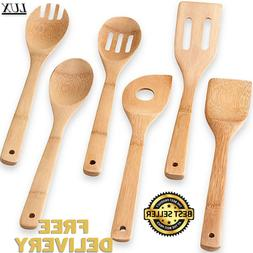 6 Piece Bamboo Spatula Set Wooden Spoon Mixing Kitchen Utens