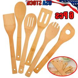 6 Piece Bamboo Spatula Set Wooden Spoons Mixing Kitchen Uten