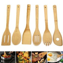 6 Piece Bamboo Spatula Set Wooden Spoons Mixing Kitchen Uten