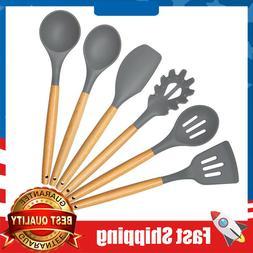 6 Piece Wood Cooking Utensils Set Non-stick Utensil Set Eco-