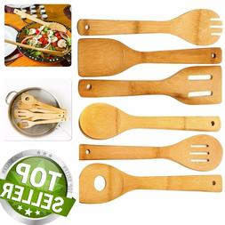 6 piece wooden cooking utensil set bamboo